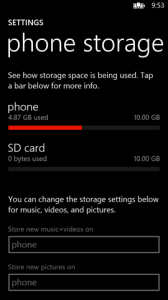 Storage settings and SD card support